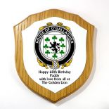 Irish Clan Sept Plaque Shield Oak Veneer 7 inch PERSONALISED, ref ISOP